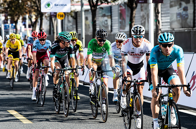 Peter Sagan (SVK) and Daniel Oss (ITA) Bora-Hansgrohe and European Champion Matteo Trentin (ITA) Mitchelton-Scott during the 2018 Shanghai Criterium, Shanghai, China. 17th November 2018.<br /> Picture: ASO/Alex Broadway | Cyclefile<br /> <br /> <br /> All photos usage must carry mandatory copyright credit (© Cyclefile | ASO/Alex Broadway)