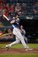 Corpus Christi Hooks designated hitter Kyle Tucker (12) gets his first Double-A hit, a single to right in the top of the eighth inning, during a game against the Springfield Cardinals on May 30, 2017 at Hammons Field in Springfield, Missouri.  Springfield defeated Corpus Christi 4-3.  (Mike Janes/Four Seam Images)