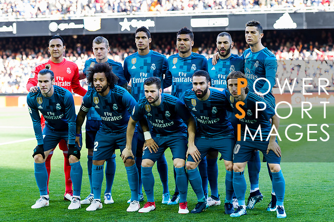 Real Madrid squad poses for photos prior to the La Liga 2017-18 match between Valencia CF and Real Madrid at Estadio de Mestalla  on 27 January 2018 in Valencia, Spain. Photo by Maria Jose Segovia Carmona / Power Sport Images