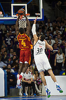 Real Madrid´s Ioannis Bourousis and Galatasaray´s Young during 2014-15 Euroleague Basketball match between Real Madrid and Galatasaray at Palacio de los Deportes stadium in Madrid, Spain. January 08, 2015. (ALTERPHOTOS/Luis Fernandez) /NortePhoto /NortePhoto.com