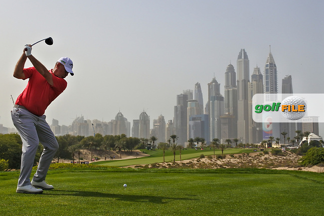 Thomas Bjorn (DEN) on the 8th during Round 2 of the Omega Dubai Desert Classic, Emirates Golf Club, Dubai,  United Arab Emirates. 25/01/2019<br /> Picture: Golffile | Thos Caffrey<br /> <br /> <br /> All photo usage must carry mandatory copyright credit (© Golffile | Thos Caffrey)