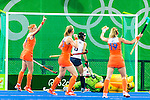 Ellen Hoog #19 of Netherlands celebrates with her teammates during Netherlands vs Korea in a Pool A game at the Rio 2016 Olympics at the Olympic Hockey Centre in Rio de Janeiro, Brazil.