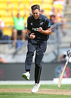 Blackcaps Trent Boult celebrates his wicket of Englands Jason Roy during the third ODI cricket match between the Blackcaps & England at Westpac stadium, Wellington. 3rd March 2018. © Copyright Photo: Grant Down / www.photosport.nz