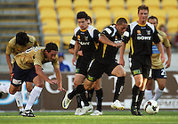 Phoenix' Leo Bertos brings the ball out during the A-League match between Wellington Phoenix and Newcastle Jets at Westpac Stadium, Wellington, New Zealand on Sunday, 4 January 2009. Photo: Dave Lintott / lintottphoto.co.nz