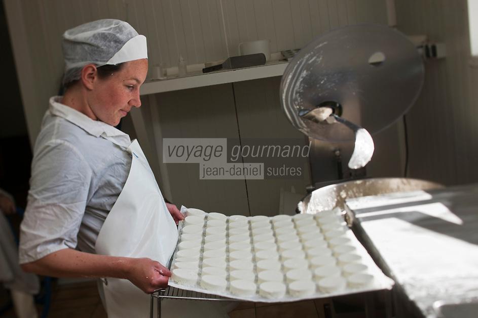 Europe/Europe/France/Midi-Pyrénées/46/Lot/Loubressac: Ferme Cazal-SARL Les Alpines - Production du Rocamadour AOC Fermier - les fromages frais moulés sont mis sur une grille Auto N°: 2010-103
