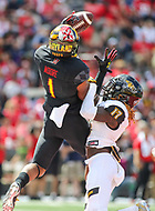 College Park, MD - September 9, 2017: Maryland Terrapins wide receiver D.J. Moore (1) tries to catch the ball during game between Towson and Maryland at  Capital One Field at Maryland Stadium in College Park, MD.  (Photo by Elliott Brown/Media Images International)