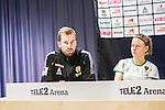 Stockholm 2015-04-11 Fotboll Damallsvenskan Hammarby IF DFF - Mallbackens IF Sunne  :  <br /> Hammarbys tr&auml;nare P&auml;r Lagerstr&ouml;m p&aring; presskonferensen efter matchen mellan Hammarby IF DFF och Mallbackens IF Sunne  <br /> (Foto: Kenta J&ouml;nsson) Nyckelord:  Fotboll Damallsvenskan Dam Damer Tele2 Arena Hammarby HIF Bajen Mallbacken tr&auml;nare manager coach portr&auml;tt portrait