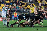 Brad Weber waits for scrum ball during the Super Rugby quarterfinal match between the Hurricanes and Chiefs at Westpac Stadium in Wellington, New Zealand on Friday, 20 July 2018. Photo: Dave Lintott / lintottphoto.co.nz