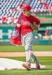 23 May 2015: Philadelphia Phillies guest Bat Boy John Proefrock helps out during batting practice prior to a game against the Washington Nationals at Nationals Park in Washington, DC. The Phillies defeated the Nationals 8-1 in the second game of their 3-game weekend series. Mandatory Credit: Ed Wolfstein Photo *** RAW (NEF) Image File Available ***