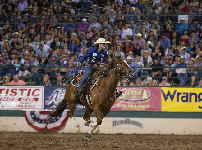 Taylor Langdon competes in the Barrel Racing event during the Reno Rodeo on Sunday, June 23, 2019.