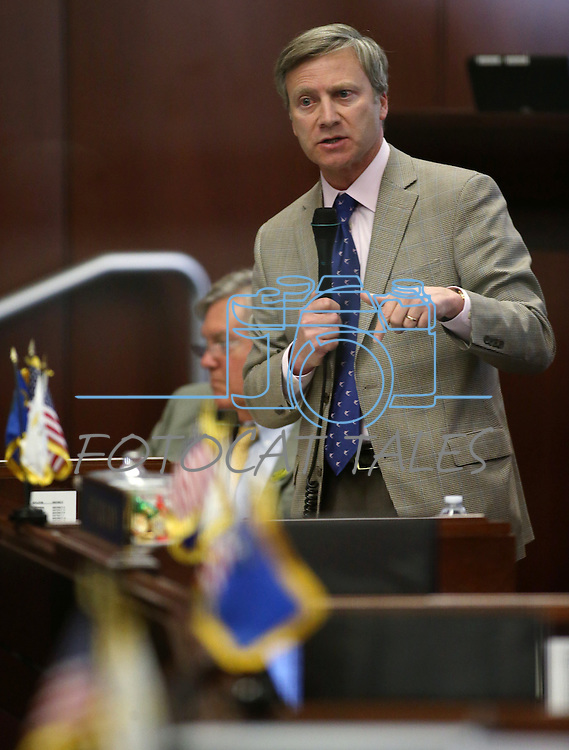 Nevada Sen. Greg Brower, R-Reno, speaks on the Senate floor at the Legislative Building in Carson City, Nev., on Tuesday, May 21, 2013. .Photo by Cathleen Allison