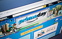 "The Amazon website promotes their self-proclaimed ""Prime Day"" on Tuesday, July 12, 2016. Bargains and deals galore are offered to Amazon Prime shoppers on this one-day event. The so-called holiday offers 100,000 deal for customers, if they are members of Amazon Prime. Many shoppers are reported to be having problems with their checkout and Amazon is quoted  ""Some customers are reporting difficulty with checkout. We're working to resolve the issue quickly.""  (© Richard B. Levine)"