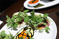 An order of Luna Buns (four steamed luna buns with hoisin shiitake bacon, red cabbage slaw and cucumber) at Blue Sage Vegetarian Grille Thursday August 13, 2015 in Southampton, Pennsylvania. (Photo by William Thomas Cain)