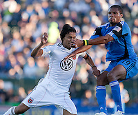Juan Manuel Pena (left) and Ryan Johnson (right) go up for the header. The San Jose Earthquakes tied DC United 1-1 at Buck Shaw Stadium in Santa Clara, California on July 3rd, 2010.