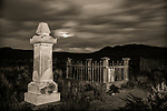 Moonrise in Bannack Cemetery #1 -b/w