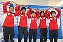 (L to R) Hirokatsu Tayama (JPN), Yuichi Hosoda (JPN), Ai Ueda (JPN), Mariko Adachi (JPN), Juri Ide (JPN), June, 2012 - Triathlon : Japanese Triathlon  team member ateend press conference about the London 2012 Summer Olympic Games in Tokyo, Japan. (Photo by Yusuke Nakanishi/AFLO SPORT) [1090]