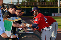 Fort Myers Miracle Akil Baddoo (24) signs autographs before a Florida State League game against the Bradenton Marauders on April 23, 2019 at LECOM Park in Bradenton, Florida.  Fort Myers defeated Bradenton 2-1.  (Mike Janes/Four Seam Images)