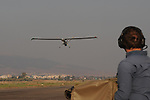 An operator lands an Elbit Hermes 450 UAV, at a test field in Megido, northern Israel.