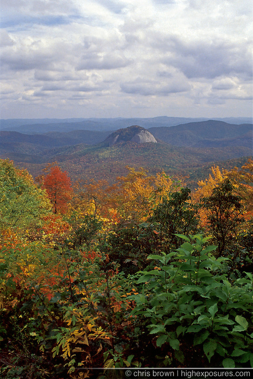 Fall colors surround Looking Glass Rock near the Blue Ridge Parkway