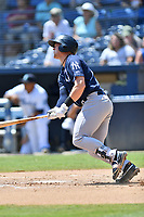 Charleston RiverDogs Josh Breaux (34) swings at a pitch during a game against the Asheville Tourists at McCormick Field on August 18, 2019 in Asheville, North Carolina. The Tourists defeated the RiverDogs 6-5. (Tony Farlow/Four Seam Images)
