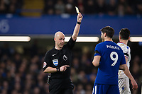 Chelsea's Alvaro Morata is shown a yellow card by Referee Anthony Taylor <br /> <br /> Photographer Craig Mercer/CameraSport<br /> <br /> The Premier League - Chelsea v Crystal Palace - Saturday 10th March 2018 - Stamford Bridge - London<br /> <br /> World Copyright &copy; 2018 CameraSport. All rights reserved. 43 Linden Ave. Countesthorpe. Leicester. England. LE8 5PG - Tel: +44 (0) 116 277 4147 - admin@camerasport.com - www.camerasport.com