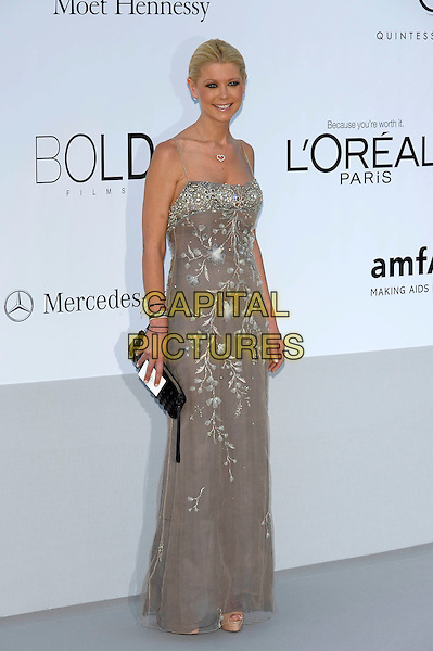Tara Reid.AmFAR Cinema Against AIDS 2012, Hotel du Cap, Antibes during the 65th  Cannes Film Festival, France..24th May 2012.full length dress silver embroidered  beads beaded clutch bag.CAP/PL.©Phil Loftus/Capital Pictures.