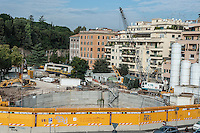 Roma, il cantiere della metro C in largo della Sanità Militare.