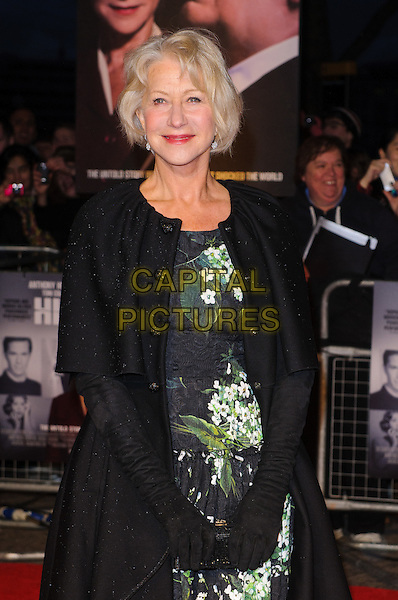 Dame Helen Mirren.'Hitchcock' Film Premiere at the BFI Southbank, London, England..December 9th, 2012.half length black coat jacket green white floral print dress gloves.CAP/CJ.©Chris Joseph/Capital Pictures.