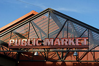 Sign over the entrance to Granville Island Public Market, Vancouver, British Columbia, Canada