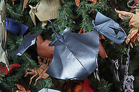 OrigamiUSA holiday tree at the American Museum of Natural History 2014. Detail of models: origami rays designed and folded by Paul Frasco