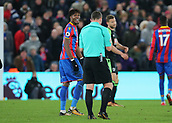 9th December 2017, Selhurst Park, London, England; EPL Premier League football, Crystal Palace versus Bournemouth; Wilfried Zaha of Crystal Palace reacts towards Referee Kevin Friend after Cook brought him down during a Palace attack
