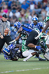 Cinsere Allison (5) of the A.L. Brown Wonders forces a fumble by Donshel Jetton (6) of the Mooresville Blue Devils during first half action at Coach Joe Popp Stadium on September 9, 2016, in Mooresville, North Carolina.  The Blue Devils defeated the Wonders 23-21.  (Brian Westerholt/Special to the Tribune)