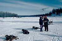 Plane Lands as Team Checks in at Skwentna Checkpoint Alaska