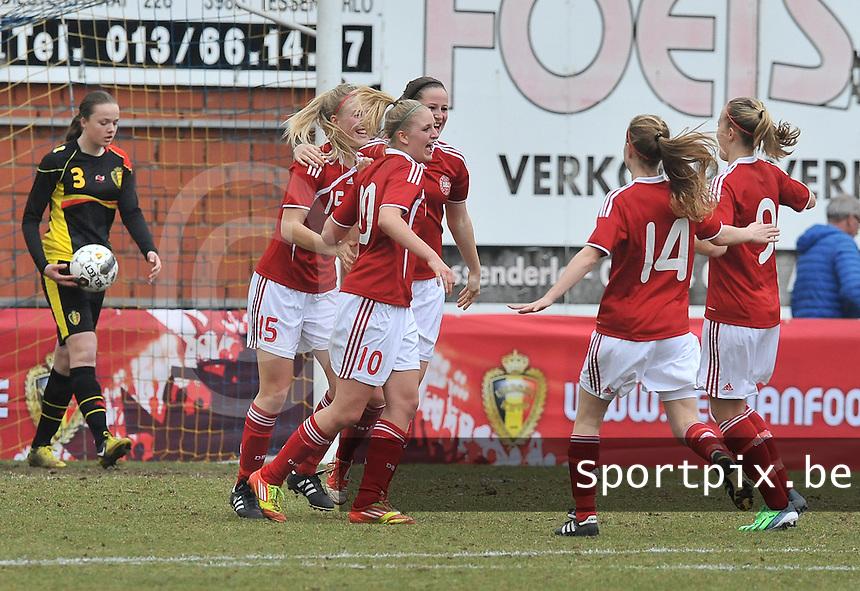 Denmark U17 - Belgium U17 : vreugde bij Denemarken na het doelpunt van 10 Marie Maj Madsen.foto DAVID CATRY / Vrouwenteam.be