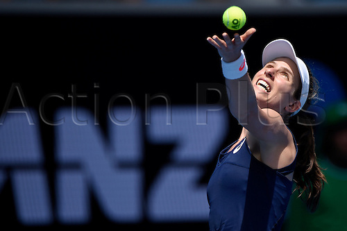 January 16th 2017, Melbourne Park, Melbourne, Australia; Australian Open grand slam tennis tournament Johanna Konta (GBR) in action against Kirsten Flipkens (BEL) during round 1