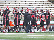 College Park, MD - April 15, 2018: Rutgers Scarlet Knights celebrates after a goal during game between Rutgers and Maryland at  Capital One Field at Maryland Stadium in College Park, MD.  (Photo by Elliott Brown/Media Images International)