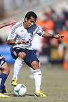 24 February 2013: Vancouver's Camilo Sanvezzo (BRA). The NASL Carolina RailHawks played MLS's Vancouver Whitecaps FC at WakeMed Stadium in Cary, North Carolina in a 2013 preseason game. Vancouver won the game 3-0.