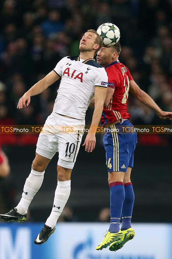 Harry Kane of Tottenham Hotspur and Vasiliy Berezutskiy of CSKA Moscow during Tottenham Hotspur vs CSKA Moscow, UEFA Champions League Football at Wembley Stadium on 7th December 2016