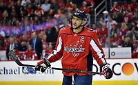 WASHINGTON, DC - APRIL 04: Washington Capitals left wing Alex Ovechkin (8) rests during a stoppage in play during the Montreal Canadiens vs. Washington Capitals NHL hockey game April 4, 2019 at Capital One Arena in Washington, D.C.. (Photo by Randy Litzinger/Icon Sportswire)