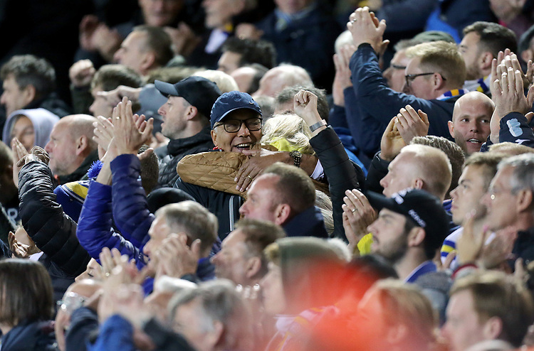 Leeds United fans celebrate at the final whistle<br /> <br /> Photographer Rich Linley/CameraSport<br /> <br /> The EFL Sky Bet Championship - Tuesday 1st October 2019  - Leeds United v West Bromwich Albion - Elland Road - Leeds<br /> <br /> World Copyright © 2019 CameraSport. All rights reserved. 43 Linden Ave. Countesthorpe. Leicester. England. LE8 5PG - Tel: +44 (0) 116 277 4147 - admin@camerasport.com - www.camerasport.com