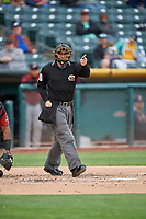 Home plate umpire Sean Ryan handles the calls behind the plate during the game between the Salt Lake Bees and the Sacramento River Cats at Smith's Ballpark on April 19, 2018 in Salt Lake City, Utah. Salt Lake defeated Sacramento 10-7. (Stephen Smith/Four Seam Images)