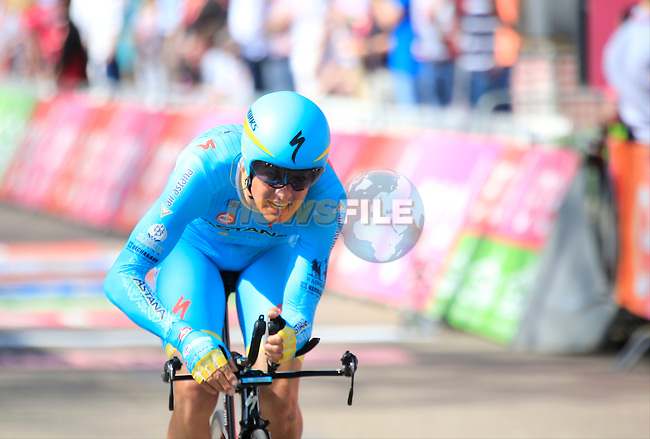 Jakob Fuglsang (DEN) Astana crosses the finish line of Stage 1 of the 2016 Giro d'Italia, an individual time trial of 9.8km around Apeldoorn, The Nethrerlands. 6th May 2016.<br /> Picture: Eoin Clarke | Newsfile<br /> <br /> <br /> All photos usage must carry mandatory copyright credit (&copy; Newsfile | Eoin Clarke)
