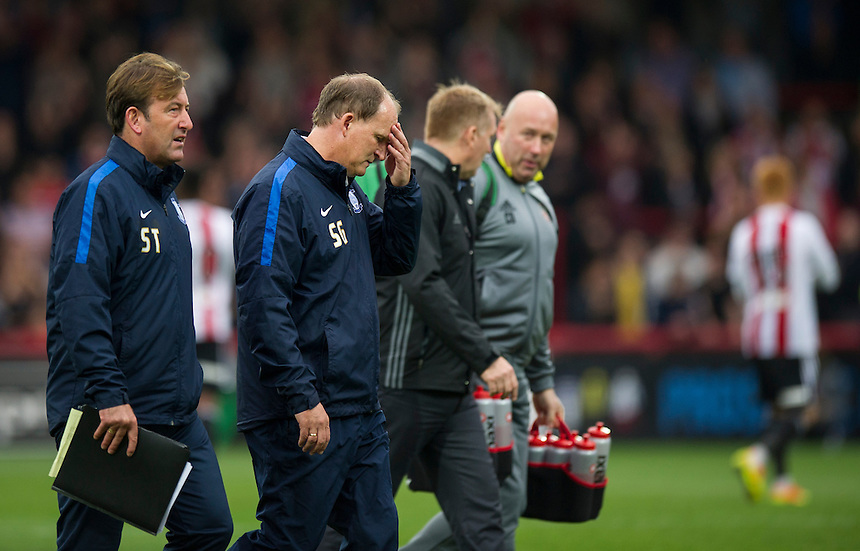 Preston North End manager Simon Grayson dejected at the final whistle as they lose 5-0 to Brentford<br /> <br /> Photographer Ashley Western/CameraSport<br /> <br /> The EFL Sky Bet Championship - Brentford v Preston North End - Saturday 17 September 2016 - Griffin Park - London<br /> <br /> World Copyright &copy; 2016 CameraSport. All rights reserved. 43 Linden Ave. Countesthorpe. Leicester. England. LE8 5PG - Tel: +44 (0) 116 277 4147 - admin@camerasport.com - www.camerasport.com