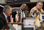 Nevada Sens., from left, James Settelmeyer, Kelvin Atkinson and Pete Goicoechea on the Senate floor at the Legislative Building in Carson City, Nev., on Tuesday, April 16, 2013. .Photo by Cathleen Allison