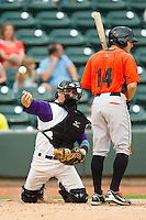 Winston-Salem Dash catcher Martin Medina (22) makes a snap throw to first base behind Johnny Ruettiger (14) of the Frederick Keys at BB&T Ballpark on July 21, 2013 in Winston-Salem, North Carolina.  The Dash defeated the Keys 3-2.  (Brian Westerholt/Four Seam Images)