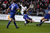 Pictured: Jason Scotland of Swansea (C in white) tackled by Pim Balkestein of Ispwich<br /> Re: Coca Cola Championship, Swansea City FC v Ipswich Town at the Liberty Stadium. Swansea, south Wales, Saturday 07 February 2009<br /> Picture by D Legakis Photography / Athena Picture Agency, Swansea 07815441513
