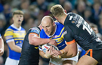 Picture by Allan McKenzie/SWpix.com - 23/03/2018 - Rugby League - Betfred Super League - Leeds Rhinos v Castleford Tigers - Elland Road, Leeds, England - Carl Ablett is tackled.