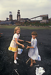 Miners strike 1984. Shirebrook Colliery Derbyshire. Strilking Miners have to scavage for coal, children are helping their parents who are on strike. Working miners keep their free coal perk.