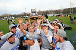 KANSAS CITY, MO - DECEMBER 03:  Wingate University celebrates after defeating the University of Charleston during the Division II Men's Soccer Championship held at Children's Mercy Victory Field at Swope Soccer Village on December 03, 2016 in Kansas City, Missouri. Wingate beat Charleston 2-0 to win the National Championship. (Photo by Jack Dempsey/NCAA Photos via Getty Images)