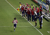 CD Chivas USA midfielder Francisco Mendoza (6) runs down field to celebrate with his waiting teammates late in the second half. CD Chivas USA defeated the LA Galaxy in the Super Clasico 3-0 at the Home Depot Center in Carson, CA, Thursday, September 13, 2007.